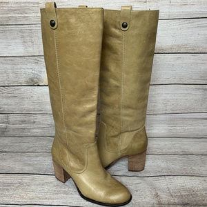 Vince Camuto Knee High Beige Leather Boots